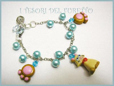"""Bracciale """"Micetta Briciola"""" gatto fimo cernit perle beige idea regalo natale."""