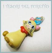 """Ciondolo """"Micetta Briciola"""" gatto fimo cernit pendente charm"""
