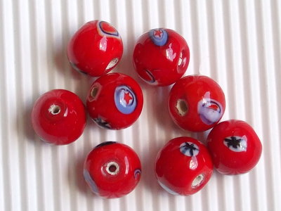 8 perle rosse in ceramica 11mm vend.