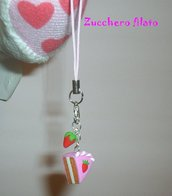 Phone strap torta alla fragola in fimo
