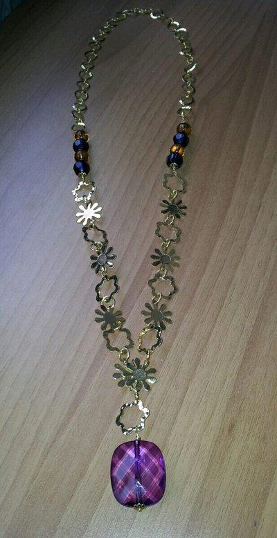 Collana catena a fiore dorato con ciondolo viola