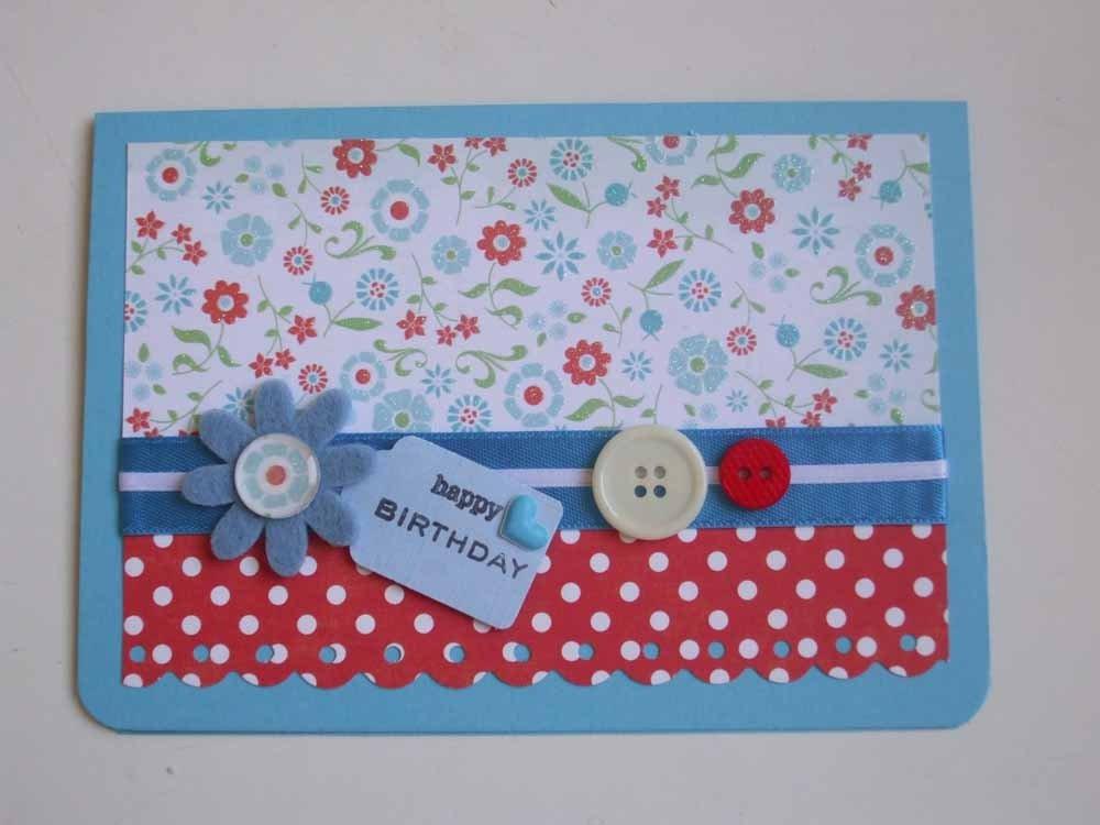 """Biglietto """"happy birthday"""" carta fiori + pois bianchi"""