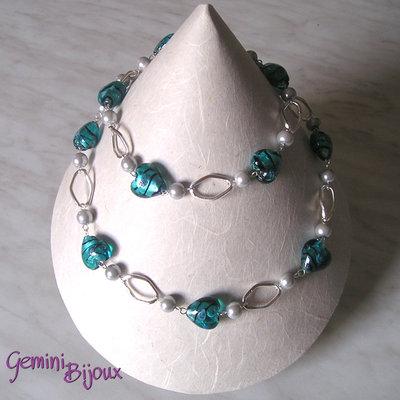 Collana cuori blu silver