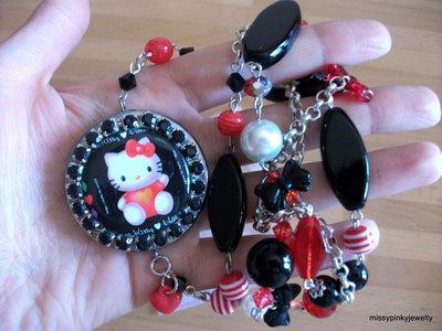 """Collana Hello Kitty """" Red&Black """" rosso nero vetro lucite plastica strass"""