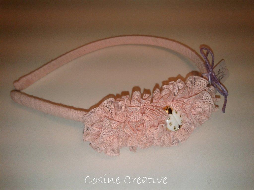 Cerchietto rosa con coccinella fatto a mano