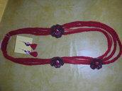 collana e orecchini rossi
