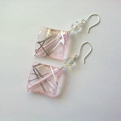 orecchini quadretti rosa