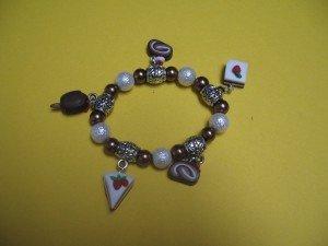 Bracciale perle bianche e marroni