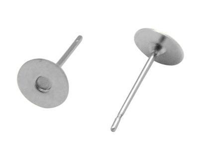 Basi orecchino argentate a base piatta Nickel free