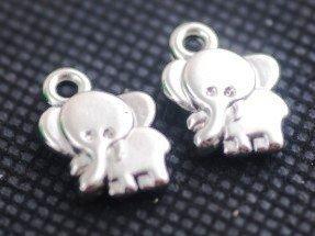 2 Elefantini Pendenti/Charm argentati 7x7mm