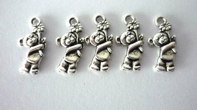 Charms Lovely Bear orsetti argentati Nickel free 5 pezzi
