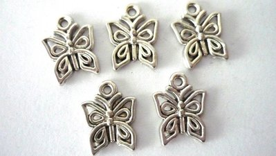 Charms Butterfly farfalle argentato anticato Nickel free 5 pezzi