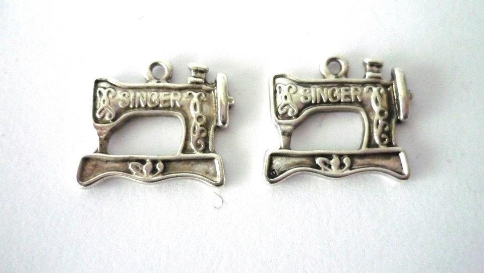 Charms Singer macchina da cucire argento tibetano Nickel free