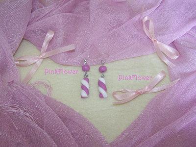 Orecchini Marshmallow in Cernit Rosa e Bianco