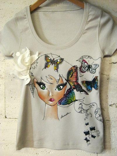 "Originally Hand Painted T Shirt Butterfly Girl ""Mandy"""