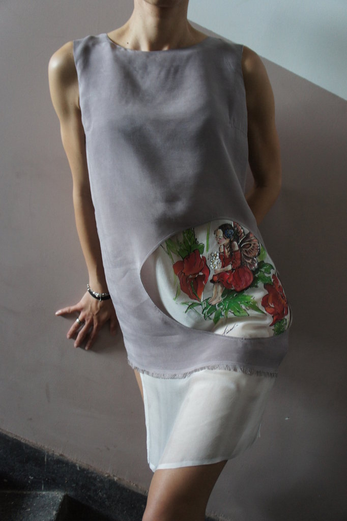 "Silk Tunic Top ""Poppy Fairy"" Orriginally Hand Painted"