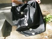 Maxi Black Skirt / Extravagant Black Satin Skirt