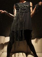 "Black Tunic ""Mysterious"" - One Shoulder Leather Fringe"