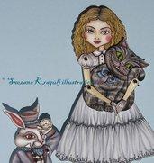 Alice nel paese delle meraviglie Paper Doll-White Rabbit e Cheshire Cat