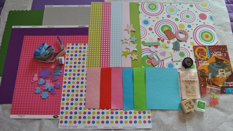 "Kit Scrapbooking n.16 ""Colors"" 78 pezzi"
