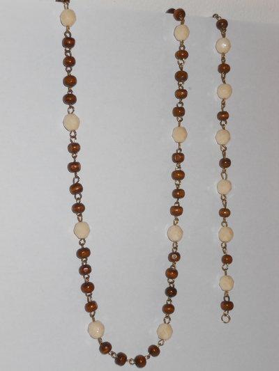 Parure rosario in legno e cristalli champagne