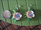 Jungle Style 2, orecchini con fiore rosa in pasta sintetica / polymer clay