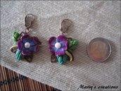 Jungle Style 5, orecchini con fiore viola in pasta sintetica / polymer clay
