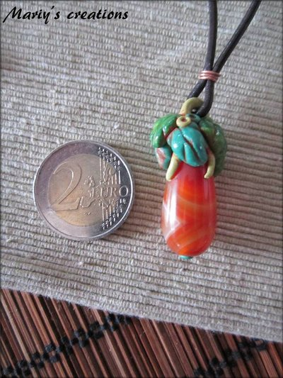 Jungle Style 1, ciondolo di vetro in pasta sintetica / polymer clay