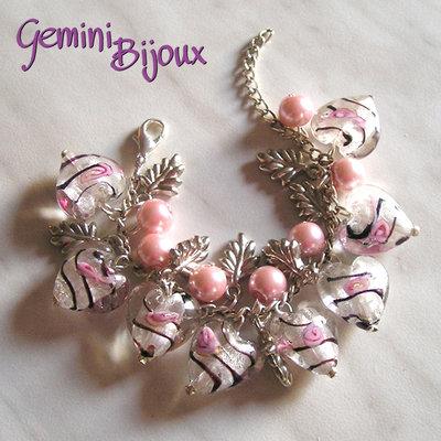 Bracciale cuori bianco rosa