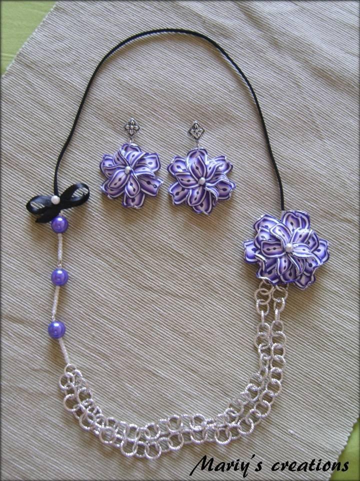 3D Flower 1, collana con fiore in pasta polimerica/polymer clay