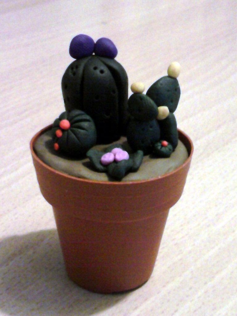 Vaso con piante grasse fimo