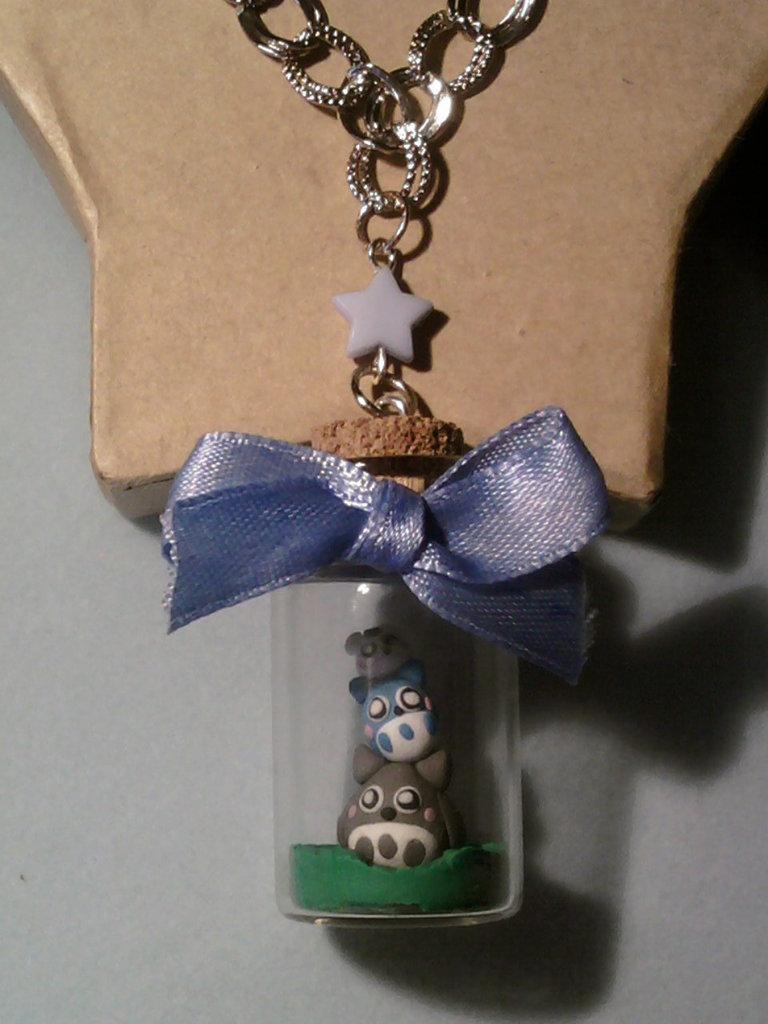 Collana con mini Totoro in bottiglietta 4 cm fimo