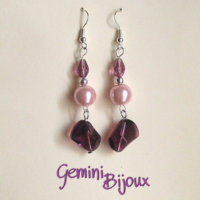 Orecchini viola e rosa