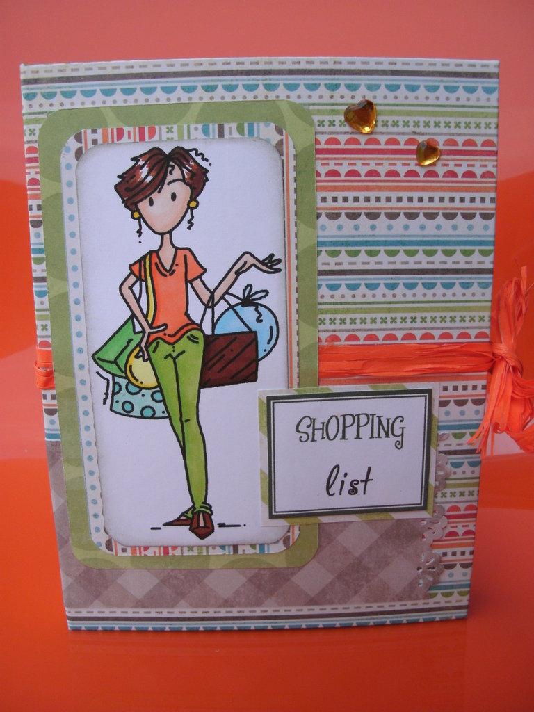 Porta lista della spesa con block notes e tasca a fisarmonica per contenere coupon e scontrini. Fatto e decorato a mano