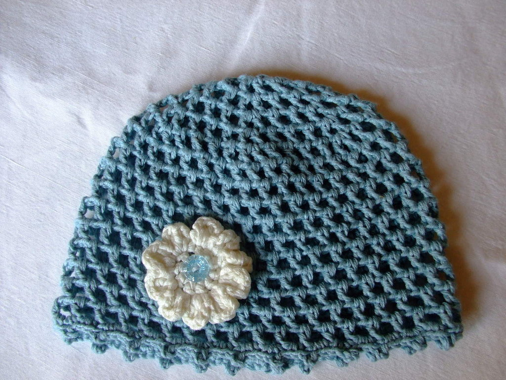 Cuffia baby azzurra,di cotone,0-3 mesi