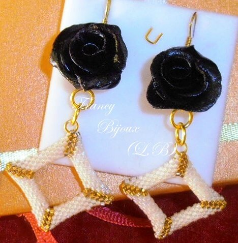 orecchini dark rose e rombi