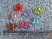 15 Perline in acrilico trasparenti a forma di farfalla