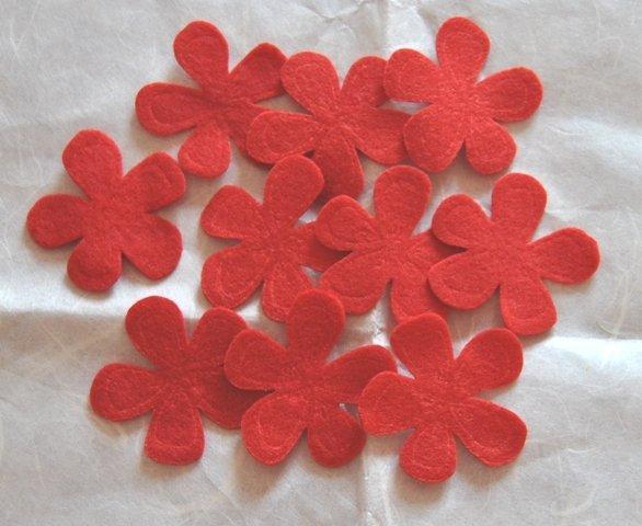 Fiori feltro colore Rosso - 10pz