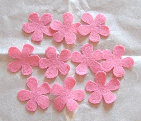 Fiori feltro colore Rosa - 10 pz