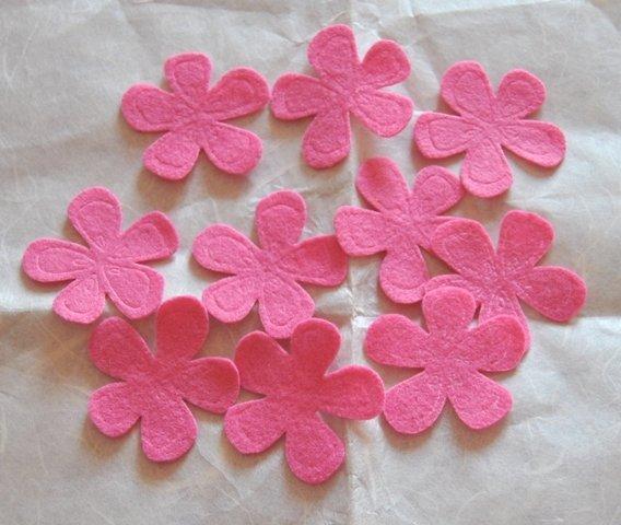 Fiori feltro colore Rosa intenso - 10 pz