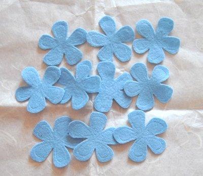 Fiori feltro colore Azzurro - 10 pz