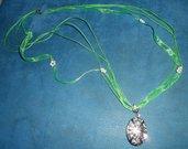 Bellissima collana lunga handmade in voile e cotone cerato