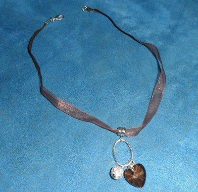 Splendida collana handmade in voile e pendente placcato argento