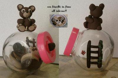 Vasetto con orsetto e biscotti fimo