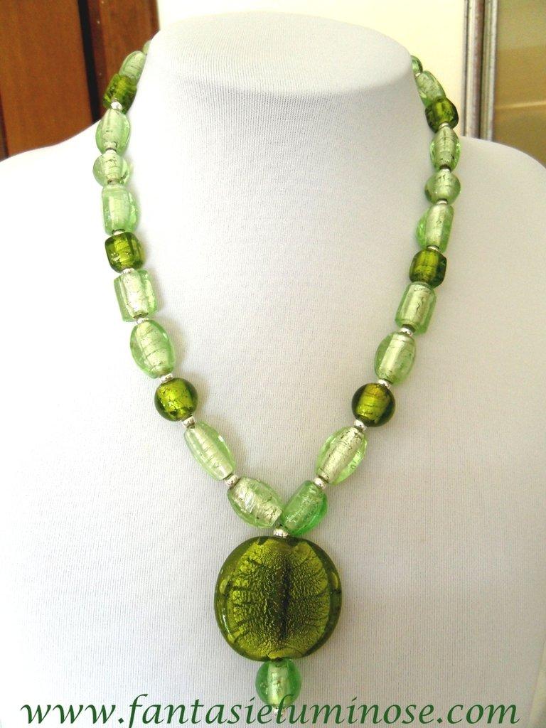 collana perle di vetro verdi
