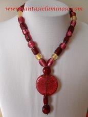 collana perle di vetro rosse