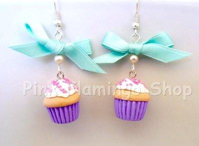 Orecchini Cupcakes in Fimo e fiocco in raso verde acqua