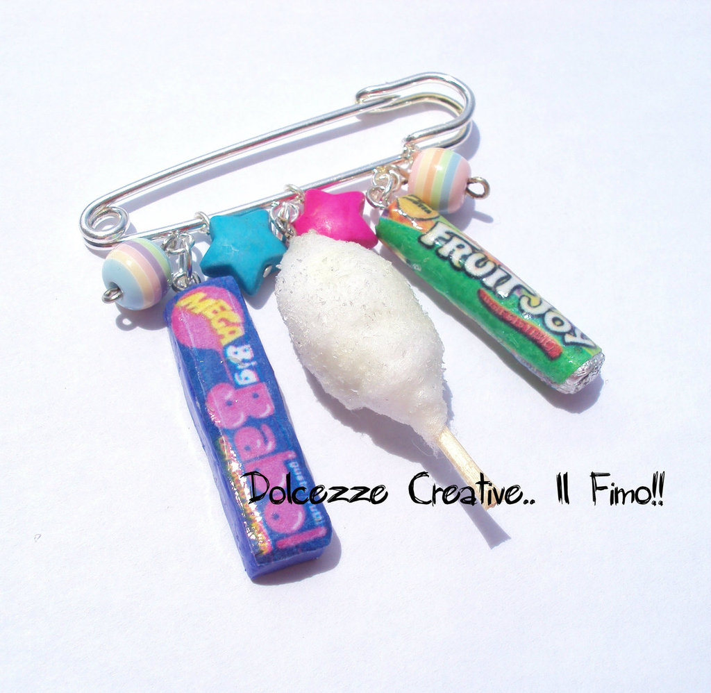 Spilla da balia - Babol, fruit Joy e zucchero filato , perle e stelle