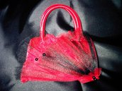 Borsa Pochette bauletto rossa con tulle nero