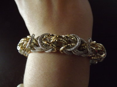 BRACCIALE CHAINMAIL COLOR ORO-ARGENTO